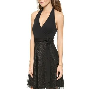 DVF Anelia Black Lace Halter Dress 6